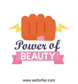 power of beauty feminism lettering flat style icon