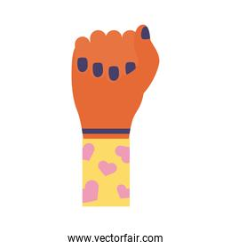 hand fist with hearts in sleeve feminism flat style icon