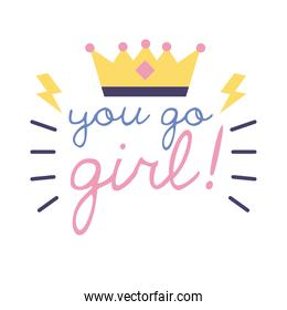 you go girl feminism lettering flat style icon