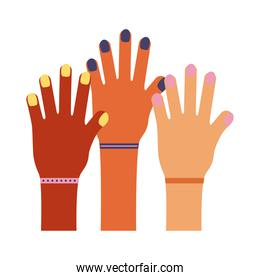 hands up prottesting teamwork flat style icon
