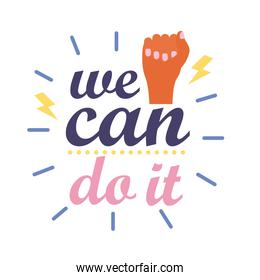we can do it feminism lettering flat style icon