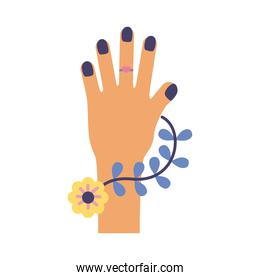 hand woman with flowers feminism flat style icon