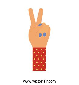 hands with peace and love symbol flat style icon