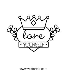 love yourself feminism lettering line style icon