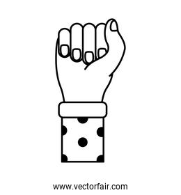 hand fist with points in sleeve feminism line style icon