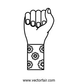 hand fist with flowers in sleeve feminism line style icon