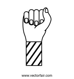 hand fist with stripes in sleeve feminism line style icon