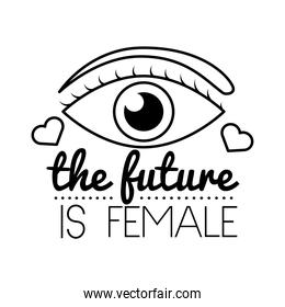 the future is female feminism lettering line style icon