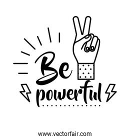 be powerful feminism lettering line style icon