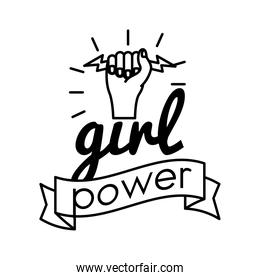girl power feminism lettering line style icon