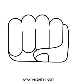 hand fist feminism line style icon