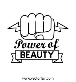 power of beauty feminism lettering line style icon
