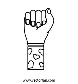 hand fist with hearts in sleeve feminism line style icon