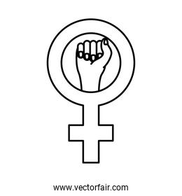 female gender symbol with hand fist line style icon