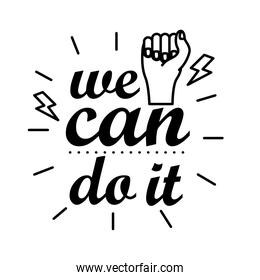 we can do it feminism lettering line style icon