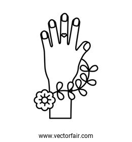 hand woman with flowers feminism line style icon
