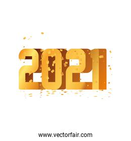 2021 happy new year gold detailed style icon vector design
