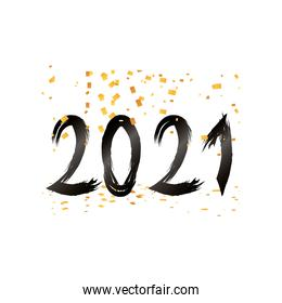 2021 happy new year with confetti detailed style icon vector design
