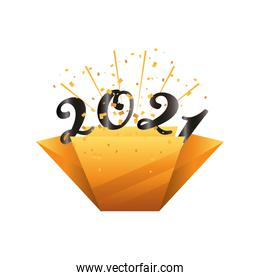 2021 happy new year with lines gold detailed style icon vector design