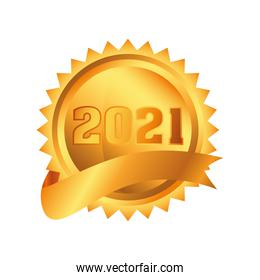 2021 happy new year in gold seal stamp detailed style icon vector design