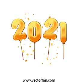 2021 happy new year balloons gold detailed style icon vector design