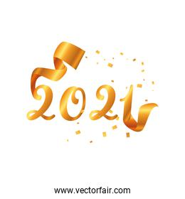 2021 happy new year with ribbon and confetti gold detailed style icon vector design