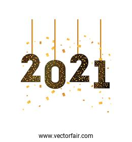 2021 happy new year hanging gold detailed style icon vector design