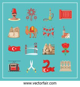 Turkish detailed style collection of icons vector design