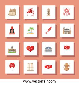 Turkish detailed style icons collection vector design
