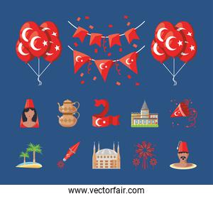 Turkish detailed style bundle of icons vector design