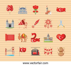Turkish detailed style icons bundle vector design
