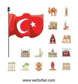 Turkish detailed style icons group vector design
