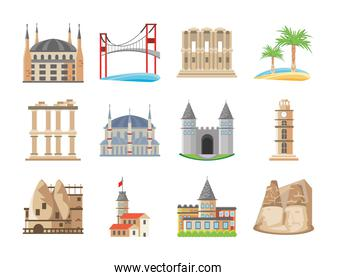 Turkish detailed style set icons vector design