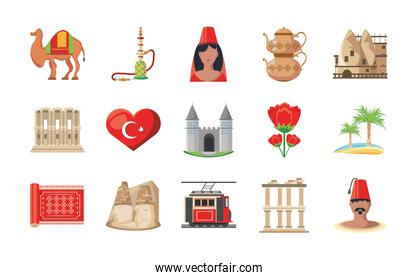 Turkish detailed style set of icons vector design
