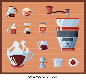 set of icons equipment for brewing coffee
