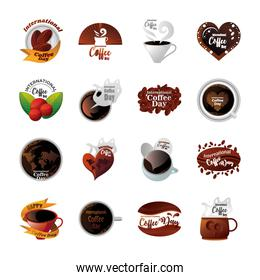bundle of icons international coffee day on white background