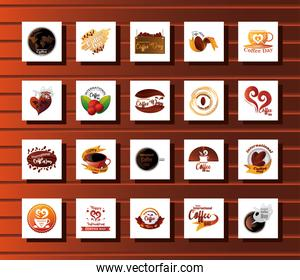 set of icons international coffee day