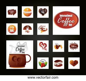 set of icons international coffee day on black background