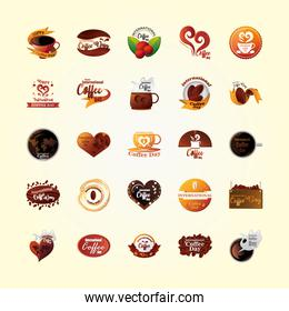 set of icons international coffee day, 1 October