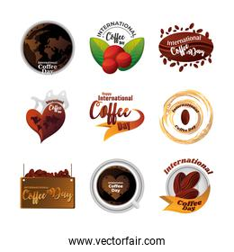set of icons international coffee day on white background