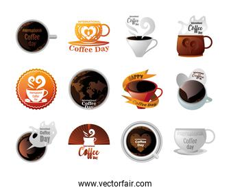 set of icons international coffee day in white background