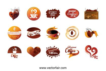 set of icons international coffee day over white background