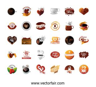 bundle of icons international coffee day in white background