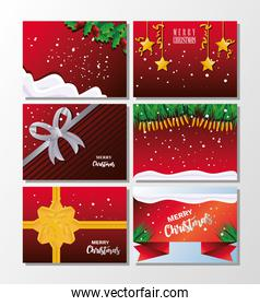 set of icons with merry christmas banners