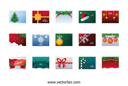 set of merry christmas banners