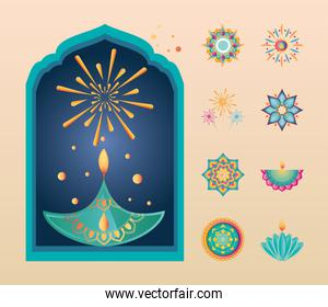 set of icons for india festival of lights