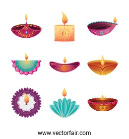 set of icons festival of lights, candles in white background