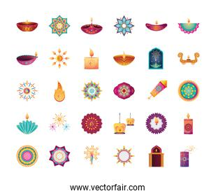 set of icons for india festival of lights on white background