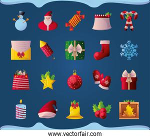 set of christmas icons on blue background