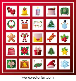 set of christmas icons on red background